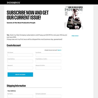 Fastcompany Magazine Suscription Landing Page