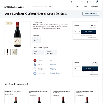 Sotheby's Wine Product Detail Page
